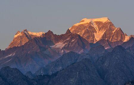 Sunset scene over Hathi and Ghori Mountain Peaks