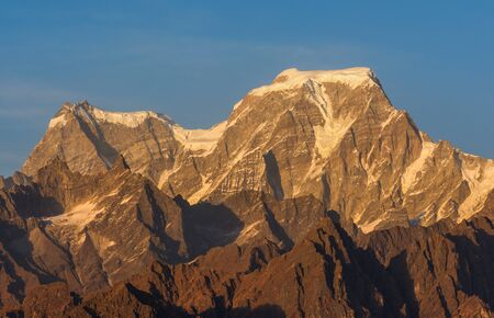 Early sunset over Mountain Hathi and Ghori parbat in Uttrakhand, India