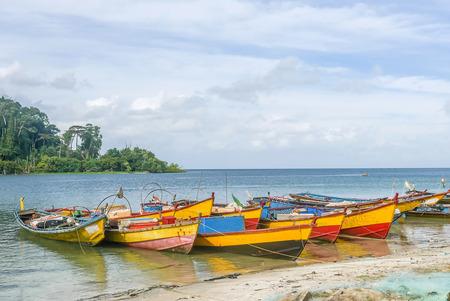 fishing boats anchored at a Beach in Andaman and Nicobar Island, India Stock Photo