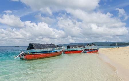 Boats parked at Jolly buoy Island in Andaman and Nicobar Island