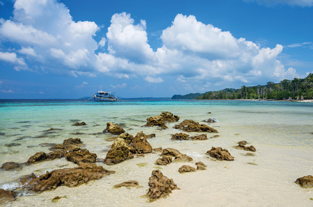 pristine corals: Rocky beach at Elephant Beach Andaman and Nicobar, India Stock Photo