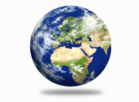 Planet Earth met Europese en Afrikaanse continent Stockfoto