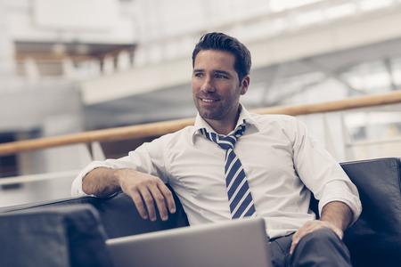 Portret van een zakenman ontspannen Stockfoto