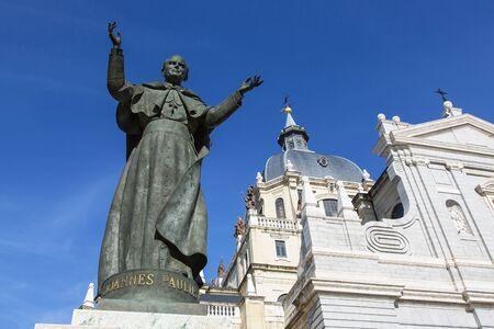 Spain, Madrid, statue of Pope John Paul II