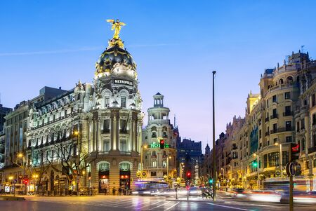Spain, Madrid, Metropolis Building and Gran Via at night