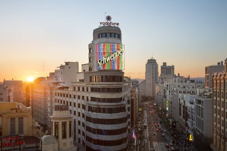 Spain, Skyline in Madrid at sunset