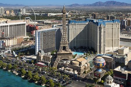 Skyline of Las Vegas the famous avenue, the strip Editorial