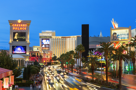Las Vegas,the famous avenue, the Strip by night Editorial