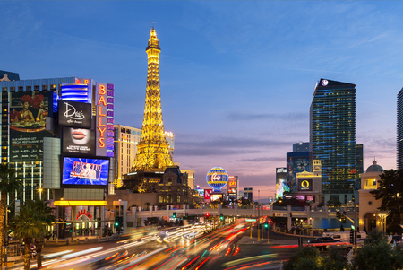 Las Vegas,the famous avenue, the Strip by night with Eiffel tower