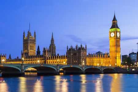 London, parliament building and Westminster Bridge at Dusk