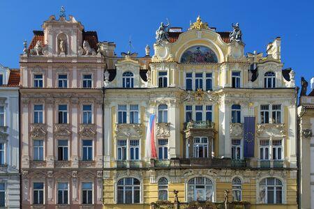 Czech Republic, Prague, Art Nouveau buildings lining the Old Town
