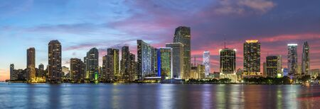 View of Miami Skyline at Dusk