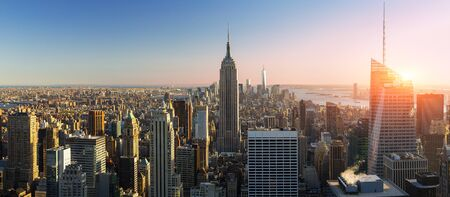 New york city skyline with Empire State Building, View from the Rockefeller Center viewing platform 'Top of the Rock' 版權商用圖片