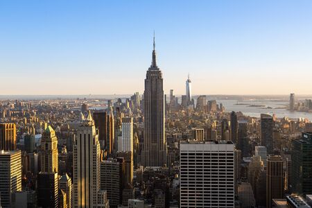 New york city skyline with Empire State Building, View from the Rockefeller Center viewing platform 'Top of the Rock' Stock Photo