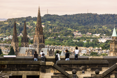 Panorama view on St Marys Cathedral from Edinburgh Castle. 報道画像