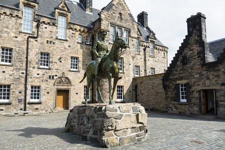 Statue of Earl Haig in front of hospital building, Historic Edinburgh Castle, Edinburgh, Scotland