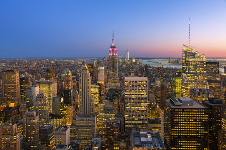 New york city skyline with Empire State Building, View from the Rockefeller Center viewing platform 'Top of the Rock' Sajtókép