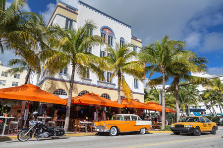 Miami Beach, Vintage car parked in front of hotel
