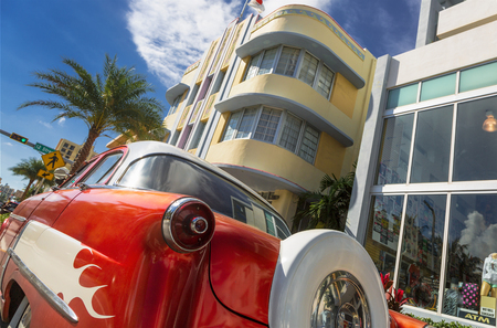 Miami, South Beach, Vintage Car front of Marlin Hotel