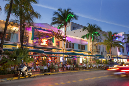 Miami, Neon lights on Ocean Drive. Editorial