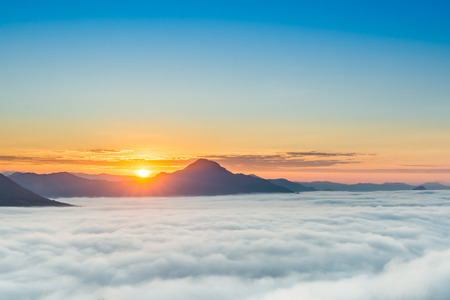 loei: Sunrise at Phu tok, Chiang Khan, Loei , Thailand Stock Photo