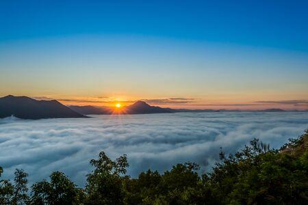 Sunrise at Phu tok, Chiang Khan, Loei , Thailand Stock Photo