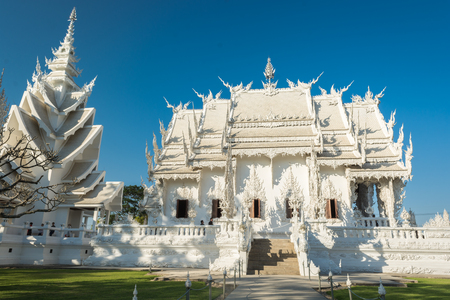Wat Rong Khun in the daytime sky Stock Photo