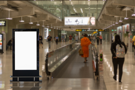 beautiful blank advertising billboard at airport background large LCD advertisement