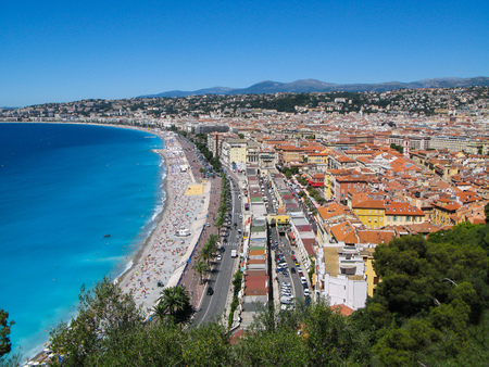 azure coast: Beautiful   panoramic  view  from  above   of  the  Azure  coast  on  a  summer  day  in  Nice,  French  Riviera,  France. Stock Photo