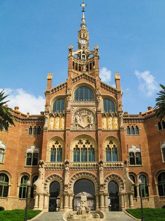 modernisme: Main  facade  of  the Hospital  of  the Holy  Cross and  Saint  Paul (Hospital de la Santa Creu  i  de Sant  Pau), Barcelona, Catalonia, Spain
