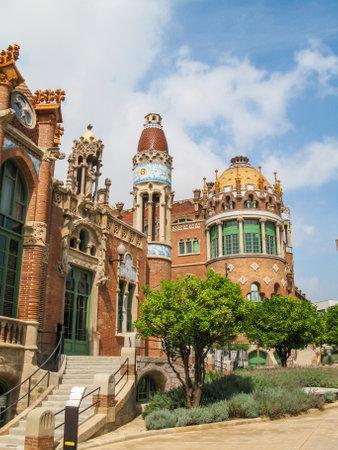 modernisme: View  of  the Hospital of the Holy  Cross and  Saint  Paul  (Hospital de la Santa Creu  i  de Sant  Pau), Barcelona, Catalonia, Spain