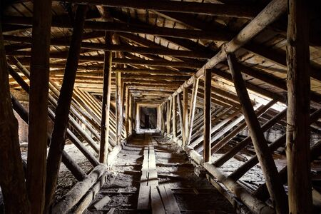 timbered: Old timbered loft inside
