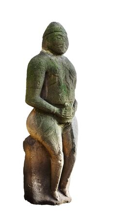 past civilization: Stone idol. A medieval Turkic Polovtsian statue which dates from XII - the first half of XIII century. Isolated on white