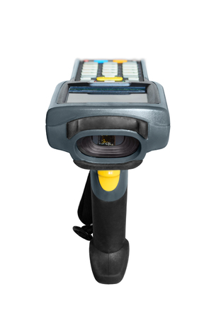 handheld computer: Handheld laser barcode scanner computer. Isolated over white background