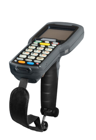 Handheld laser barcode scanner reader. Isolated on white