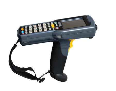 barcode scanner: Handheld laser barcode scanner reader. Isolated on white background