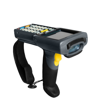 handheld computer: Handheld laser barcode scanner computer. Isolated on white background Stock Photo