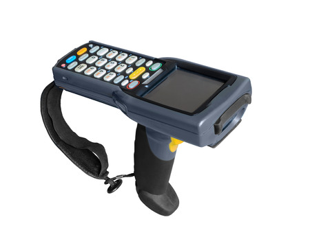 Handheld laser barcode scanner reader. Isolated over white background