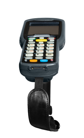 barcode scanner: Handheld laser barcode scanner reader. Isolated over white