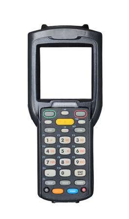 Handheld laser barcode scanner reader with blank isolated screen. Isolated on white background Stock Photo