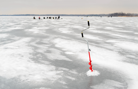boer: Fishing tackle for ice fishing such as the boer in ice