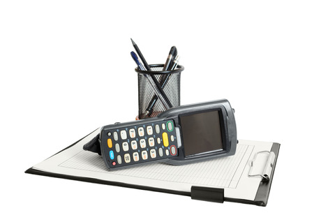 clerical: Business still life with barcode scanner, clerical clipboard and stationery. Isolated on white background