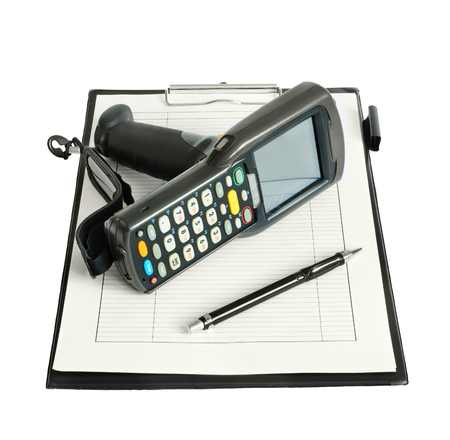 clerical: Business still life with barcode scanner, clerical clipboard and pen. Isolated on white background Stock Photo