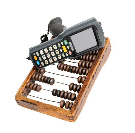 clerical: Business still life with barcode scanner, clerical clipboard and old wooden abacus. Isolated on white background