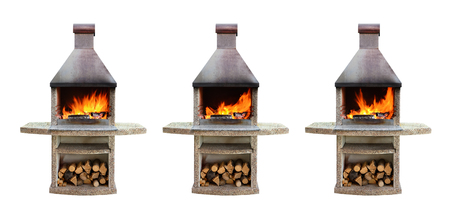 fireplaces: Set of outdoor fireplaces with burning firewood with different fire for barbecue, grill and roasting food. Isolated on white background