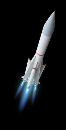 Flying multistage space rocket or anti-aircraft air defense missile with fire trail. Isolated over the black background Stock Photo