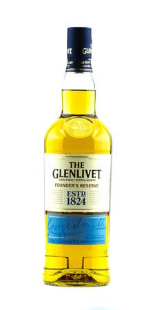 Darlington, England - March 4, 2017: Bottle of The Glenlivet founders reserve single malt scotch whiskey, sealed.