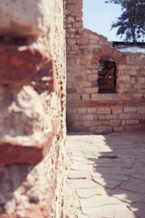 balkans: Historical ruins in the old town of Nessebar, Bulgaria, selective focus