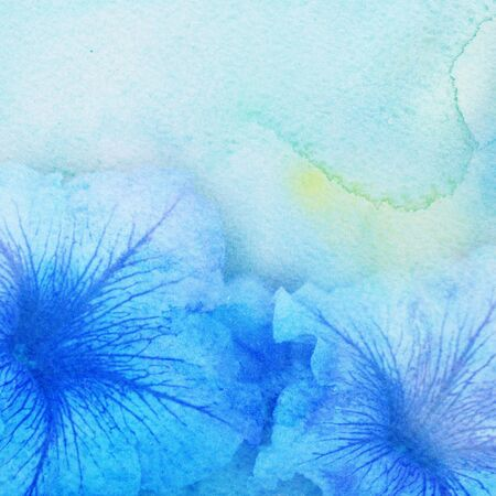 splash page: Watercolor painting styled background with blue flower