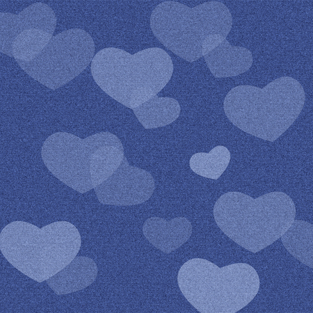 jeans denim fabric surface background with hearts